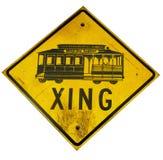 Streetcarüberfahrtzeichen Stockfotografie