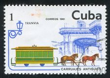 Streetcar. CUBA - CIRCA 1981: stamp printed by Cuba, shows Streetcar, circa 1981 stock image