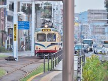 The streetcar in Kochi, Japan. Kochi, Japan - July 19, 2016: The streetcar in Kochi, Japan. The Tosaden Kotsu tram system in Kochi Prefecture, which was Stock Image