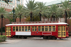 Streetcar in New Orleans. A red streetcar in the centre of New Orleans Stock Photo