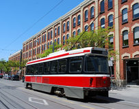 Streetcar and old warehouse Royalty Free Stock Photo