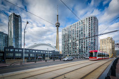 Streetcar on Queens Quay West and buildings at the Harbourfront,. In Toronto, Ontario Royalty Free Stock Images