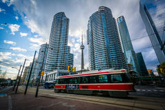 Streetcar on Queens Quay West and modern buildings at the Harbou Royalty Free Stock Photo