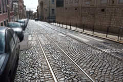 Streetcar rails in Lisbon, Portugal. Royalty Free Stock Photo