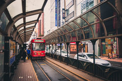 Streetcar in Sapporo. Sapporo, Japan - March 09, 2015:  A Sapporo streetcar pulls into the station at the end of the line Stock Photography