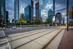 Streetcar tracks and modern buildings along Queens Quay West, at. The Harbourfront, in Toronto, Ontario Royalty Free Stock Photos