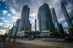 Streetcar tracks and modern buildings along Queens Quay West, at Stock Photography