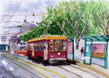 Streetcar watercolor sketch. On paper Stock Images