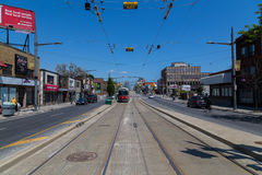 Streetcars along St Clair Avenue Royalty Free Stock Photo