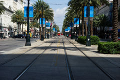 Streetcars on Canal Street in New Orleans stock photography