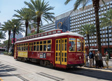 Streetcars in New Orleans. On Canal street Royalty Free Stock Photo