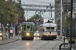 Streetcars in San Francisco Redux. This is a shot of two streetcars in San Francisco at Fisherman`s Wharf Stock Photo
