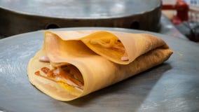Streetfood caliente del crepé de Tailandia Imagen de archivo libre de regalías