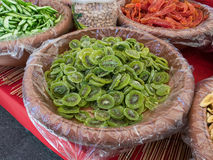 Streetfood in italy. A stall selling dried kiwi in Italy Stock Photos