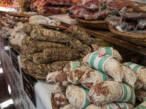 Streetfood in italy. A stall selling salami in Italy Stock Photography