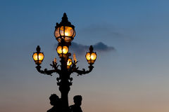 Streetlamp in the bridge Alexander III, Paris Royalty Free Stock Photo