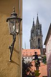Streetlamp in Meissen. Streetlamp is the streets of Meissen, with the cathedral in the background Stock Photo