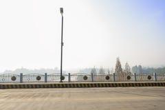 Streetlamp på huvudvägbron över floden i solig dimmig vinter Royaltyfria Bilder