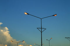 Streetlamp2. The streetlamp turn on the light automatically when dark Royalty Free Stock Photo