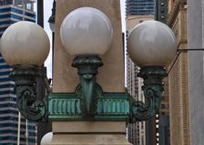Streetlamps in Downtown Chicago Loop on Wacker Drive Stock Photo