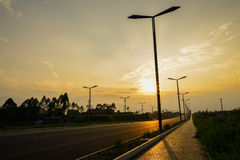Streetlamps in summer sunset Royalty Free Stock Photo