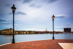 Streetlamps and the Waterfront Promenade in Fells Point, Baltimo Royalty Free Stock Image