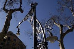 Streetlght in Passeig de Gracia, Barcelona, Stock Images
