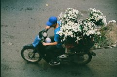 Streetlife,越南,生活,花, Motobike 免版税库存照片