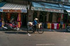 Streetlife - de katoenen winkel in Ho-Chi-Minh-Stad Royalty-vrije Stock Afbeeldingen