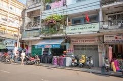 Streetlife - de katoenen winkel in Ho-Chi-Minh-Stad Stock Afbeeldingen