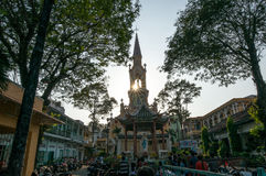 Streetlife - de kerk in Ho-Chi-Minh-Stad stock foto's