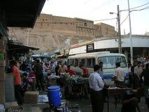 Streetlife i gammal Bazar i Erbil, Kurdistan arkivbilder