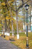 Streetlight in autumn park on cloudly afternoon Stock Photography
