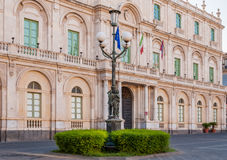 The streetlight in the background building of the University in Catania Stock Image