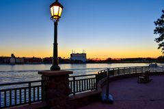 Streetlight, balcony and panoramic view of dockside on sunset background at Lake Buena Vista area. stock image