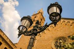 Streetlight in Barcelona, Spain Royalty Free Stock Photo