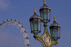 Streetlight and London Eye. In London Royalty Free Stock Photo