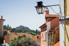 Streetlight of old Sintra, Portugal Royalty Free Stock Photos