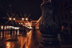Sankt-Petersburg architecture details metal streetlight illuminated night city architecture. Streetlight Sankt-Petersburg night city rainy reflection outdoor Royalty Free Stock Photos