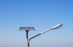 Streetlight with solar panel . Royalty Free Stock Images