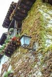 Streetlightbalkong och blommor. Royaltyfri Bild