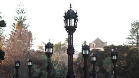 Streetlights at Apodaca Promenade Cadiz Spain stock video