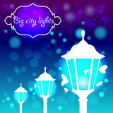 Streetlights with butterfly. Vector illustration. Three street lights with butterfly Stock Photos