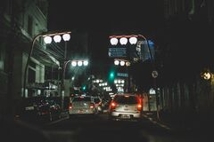 Streetlights and cars Royalty Free Stock Photo