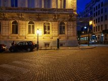 Brussels evening, cobble stone square stock images