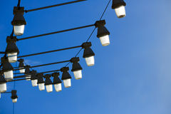 Streetlights in levante beach of benidorm Royalty Free Stock Images