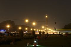 Streetlights på Rajpath, Indien åt royaltyfri foto