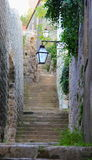 Streetlights above stairs. Magnificient streetlights in medieval town Ston, Croatia stock image