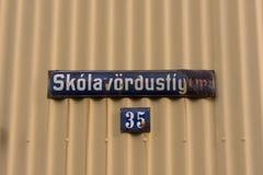 Streetname in Reykjavik royalty free stock photo
