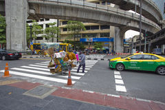 Streeton on Ratchaprasong Erawan shrine intersection Stock Photography